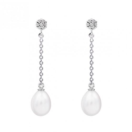 Pendientes de perlas para novia oro blanco topacios o diamantes (79B0607TE1)