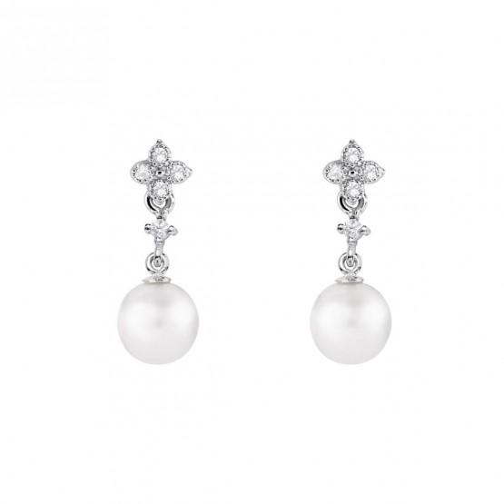 Pendientes de novia de oro blanco de18k con perlas (79B0101TD1) 1