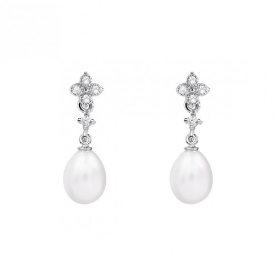 Pendientes de novia de oro blanco de18k con perlas (79B0101TE1) 1