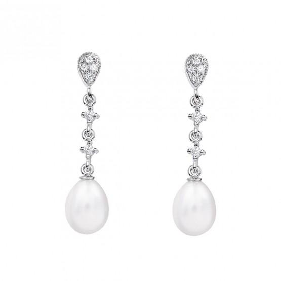 Pendientes de novia en oro blanco de18k con perlas (79B0202TE1) 1