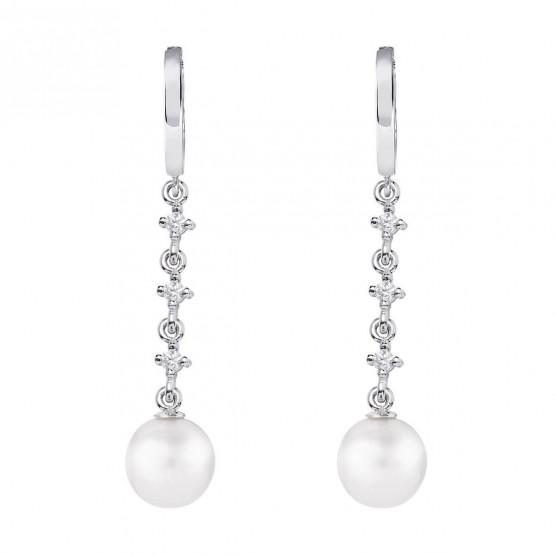 Pendientes para novia en oro blanco de18k y perlas (79B0303TD1) 1