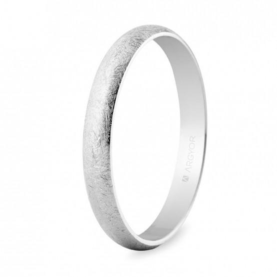 Alianza de boda oro blanco efecto hielo 3mm (5B305H)