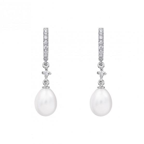 Pendientes de novia de oro blanco de18k con perla ovalada (79B0401TE1) 1