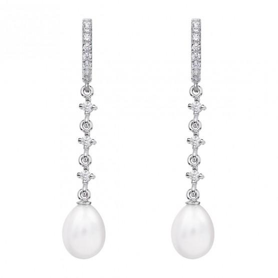 Pendientes para novia en oro blanco de18k y perlas (79B0403TE1) 1