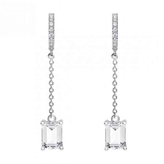 Pendientes de novia en plata y topacios con diseño cadena (79B0407TB1) 1