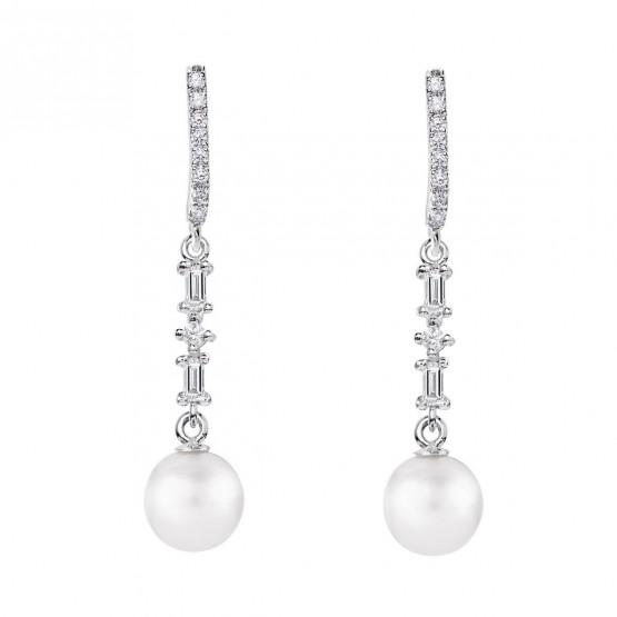 Pendientes de novia plata con topacios y perla (79B0506TD1) 1