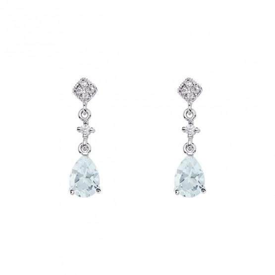 Pendientes de novia largos en plata con brillante azul (75B0227TTA) 1