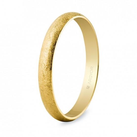 Alianza de oro clásica media caña acabado hielo 3mm (50305H)