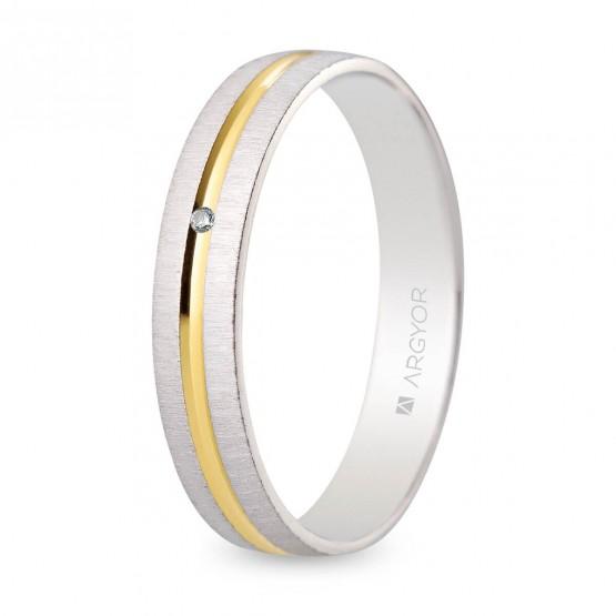 Alianza de boda bicolor texturizada-brillo con diamante (5240474D)