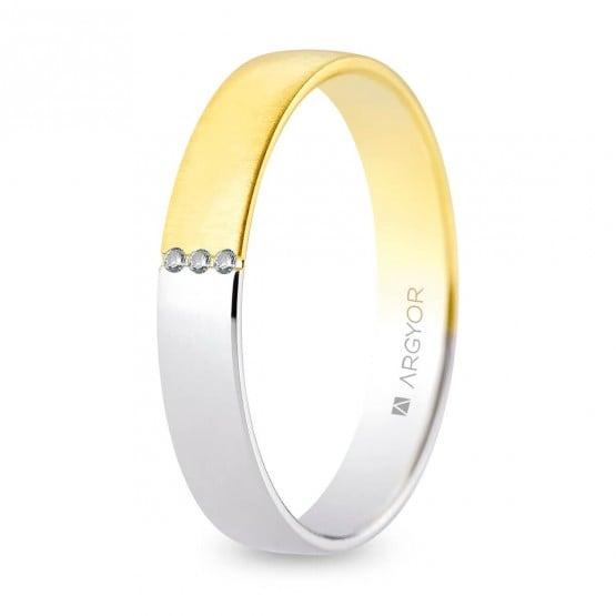 Alianza de boda de oro bicolor con diamantes 4mm  (5240549D3)