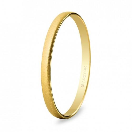 Alianza de oro amarillo media caña 2mm texturizada (50201T)