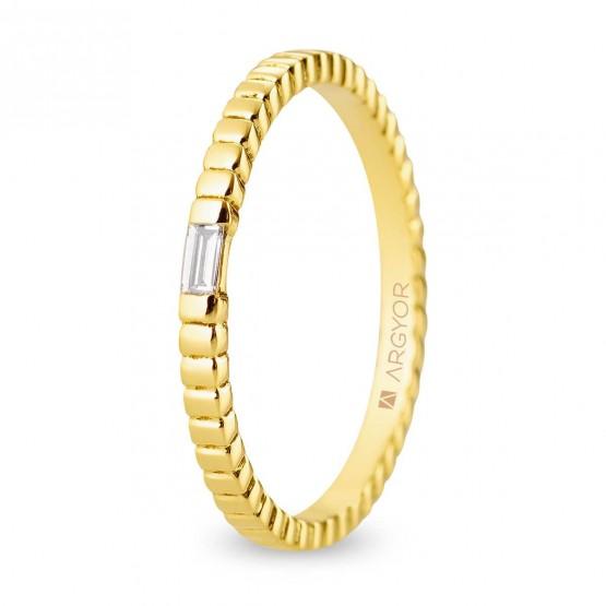 Alianza de boda en oro 18k geométrica con diamante (5118535D)
