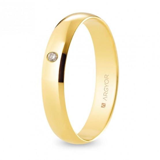 Alianza de boda oro y diamante media caña 4 mm confort (A40CP1D)