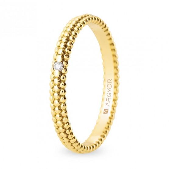 Anillo de boda de oro 18k con diseño perlado y diamante (5125553D)