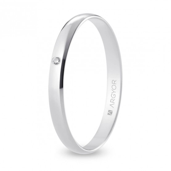 Alianza de boda oro blanco y diamante media caña 2,5 mm (B25RP1D)