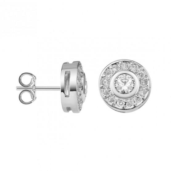 Pendientes de Diamantes roseta en oro blanco (75B0104)
