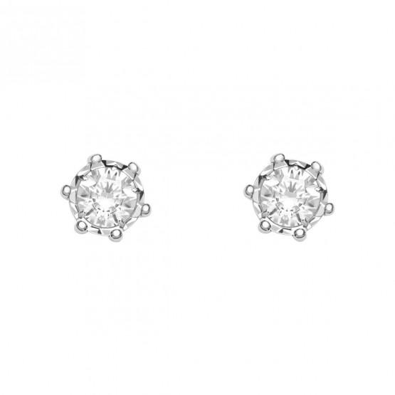 Pendientes de novia oro blanco con 2 diamantes (75B0501)
