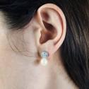 Pendientes de platino con perlas y diamantes (75B0104P)