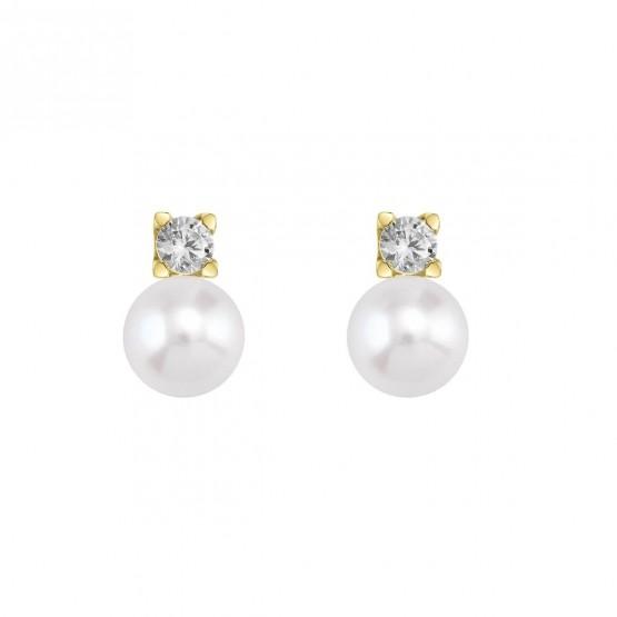 Pendientes de Oro con Diamantes y perlas (75A0103P)