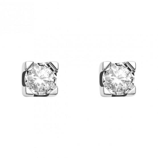 Pendientes de novia oro blanco con 2 diamantes (75B0500)