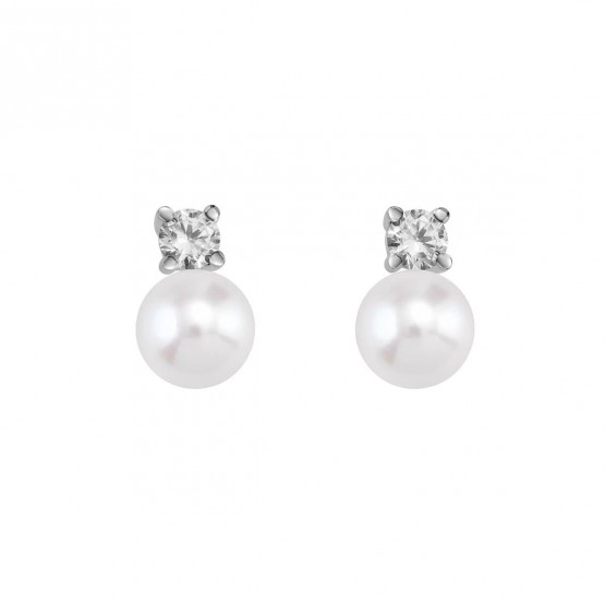 Pendientes de Novia blancos con perlas y diamantes (75B0101P)