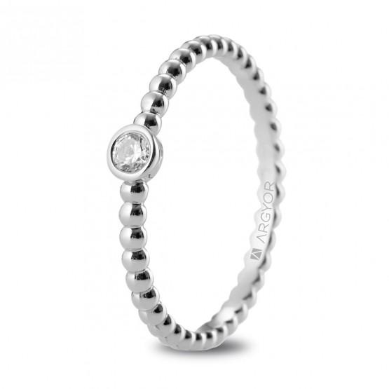 Anillo de compromiso de platino con diseño perlado (74B0087)