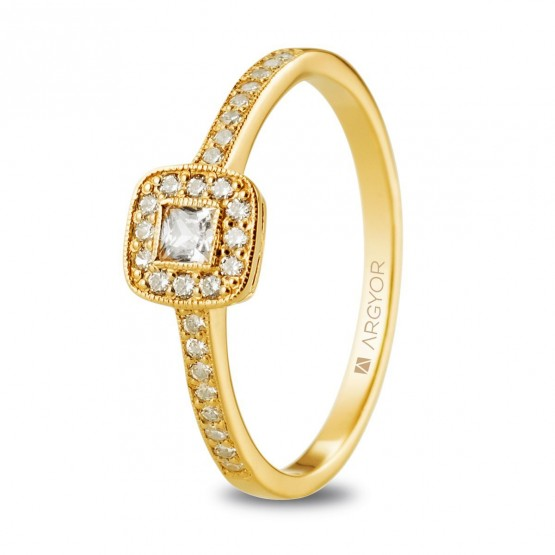 Anillo de diamantes 0.32ct en oro amarillo (74A0091)