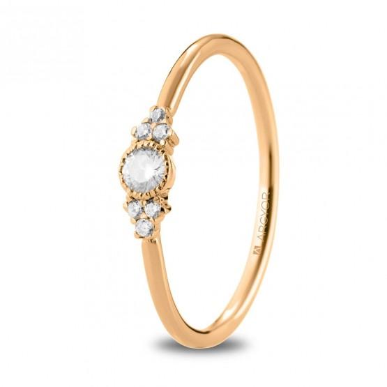 Anillo de oro rosa y 7 diamantes (74R0095)