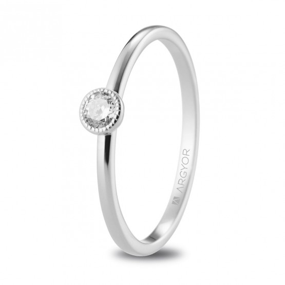 Anillo de pedida oro blanco con diamante 0.15ct (74B0078)