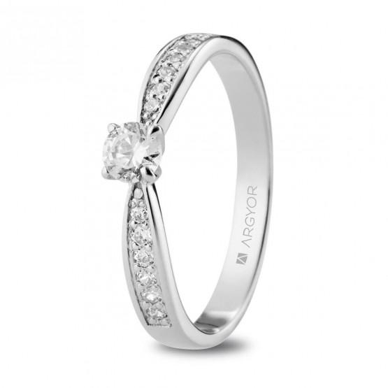 Anillo de Compromiso de oro blanco con diamantes (74B0108)