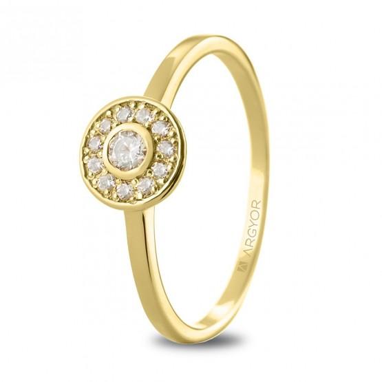 Anillo de oro 18k con diamantes en halo (74A0088)