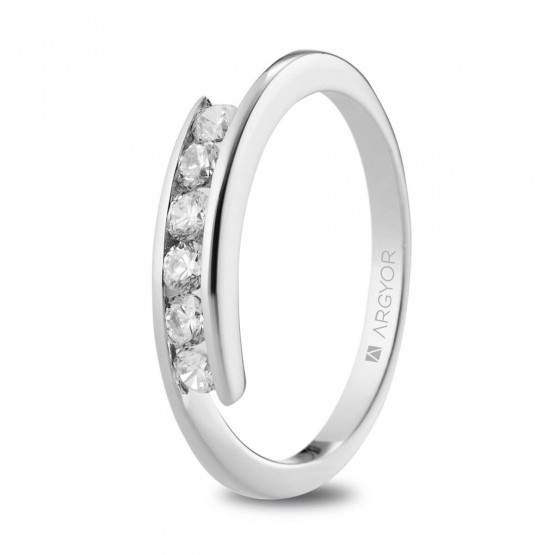 Anillo de Compromiso blanco con 6 diamantes 0.36ct (74B0101)