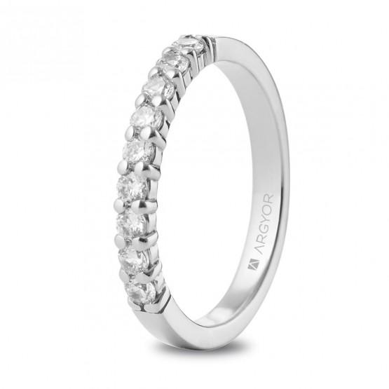 Anillo de platino y 9 diamantes 0.50ct (74B0058)