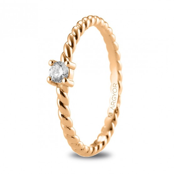 Anillo de compromiso de oro rosa trenzado con diamante 0.10ct (74R0081)