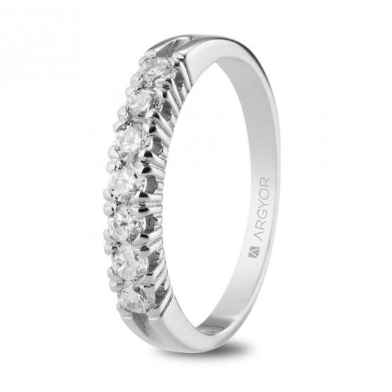 Anillo de Compromiso de oro blanco con diamantes (74B0115)
