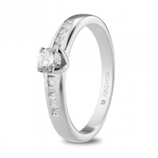Anillo de Compromiso blanco con 9 diamantes (74B0105)