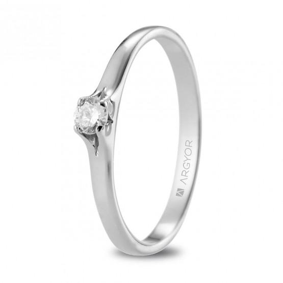 Anillo solitario de platino con diamante 0.10ct (74B0136)