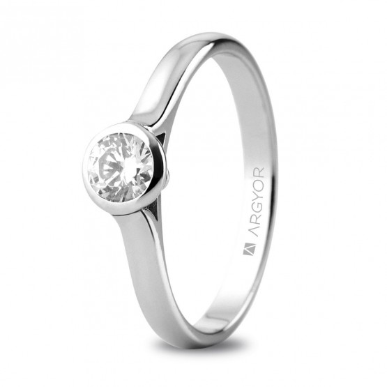 Anillo de compromiso oro blanco con 1 diamante 0,34ct (74B0043)