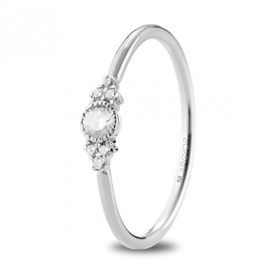 Anillo de oro blanco y 7 diamantes (74B0095)