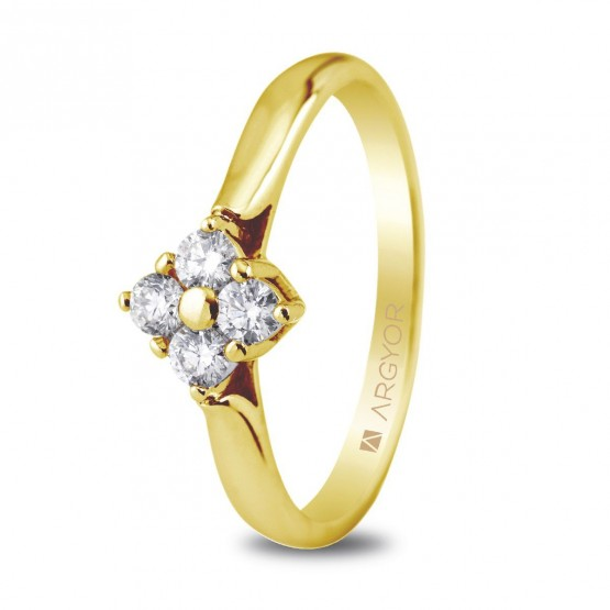 Anillo de compromiso 4 diamantes talla brillante 0.26ct (74A0019)