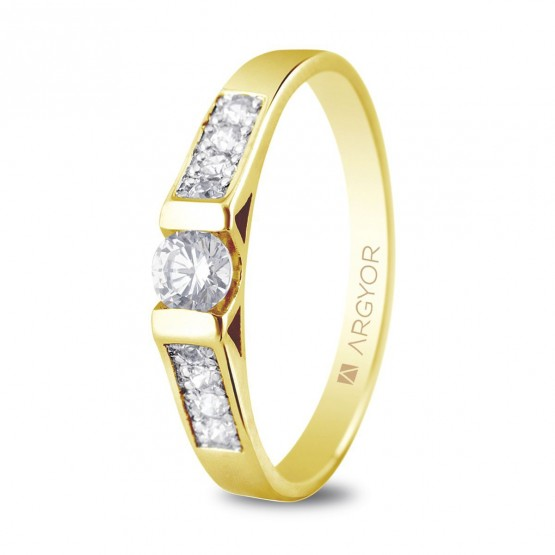 Anillo de compromiso 9 diamantes talla brillante 0.28ct (74A0033)