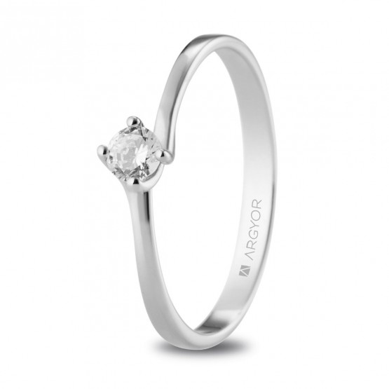 Solitario de platino con diamante 0.16ct (74B0072)