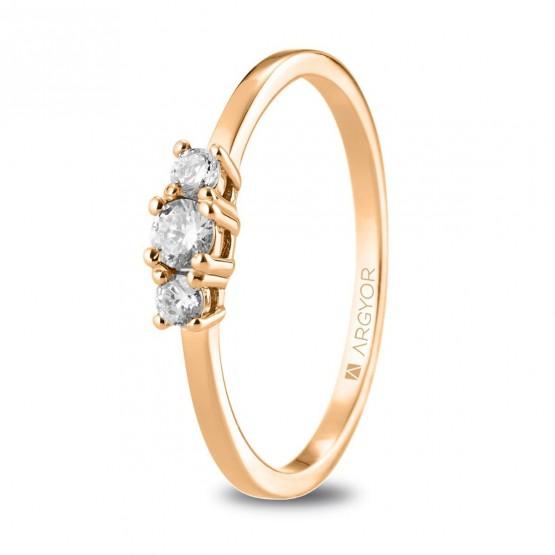 Anillo de diamantes de oro rosa 0.19ct (74R0083)