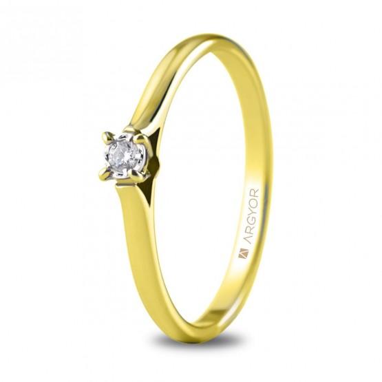 Anillo de compromiso oro amarillo con 1 diamante 0.05ct (74A0502)
