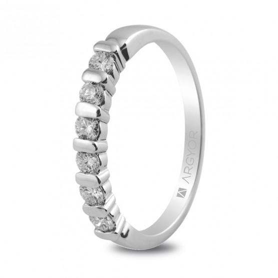 Anillo de platino con 6 diamantes 0.39ct (74B0021)