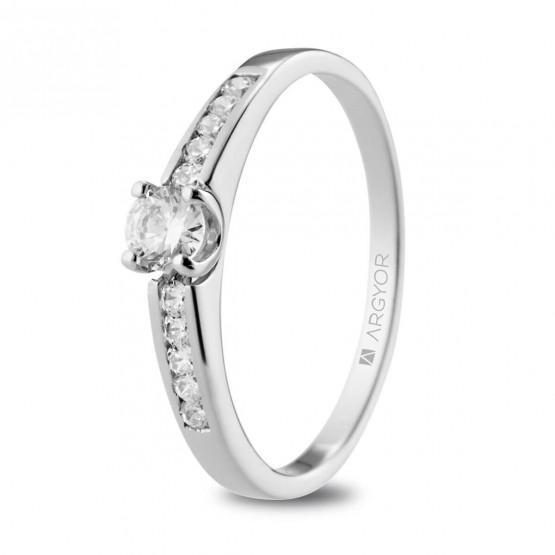 Anillo de Compromiso blanco con diamantes (74B0102)