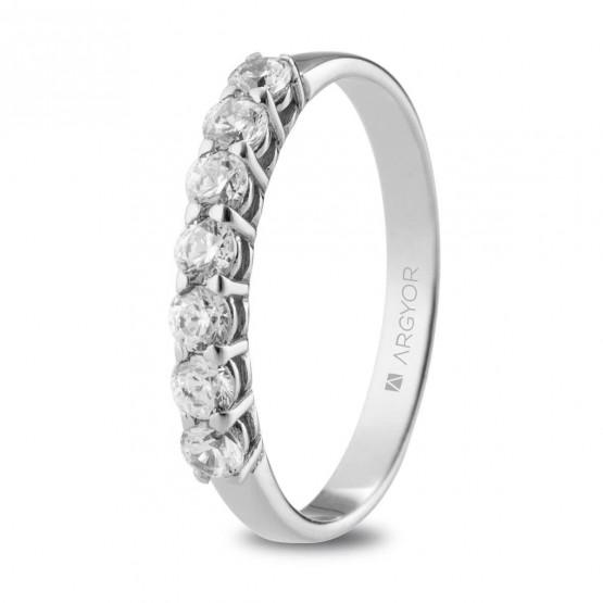 Anillo de pedida de platino con 7 diamantes (74B0110)