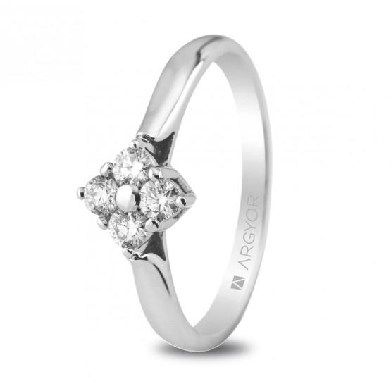 Anillo de platino con 4 diamantes 0.26ct (74B0019)