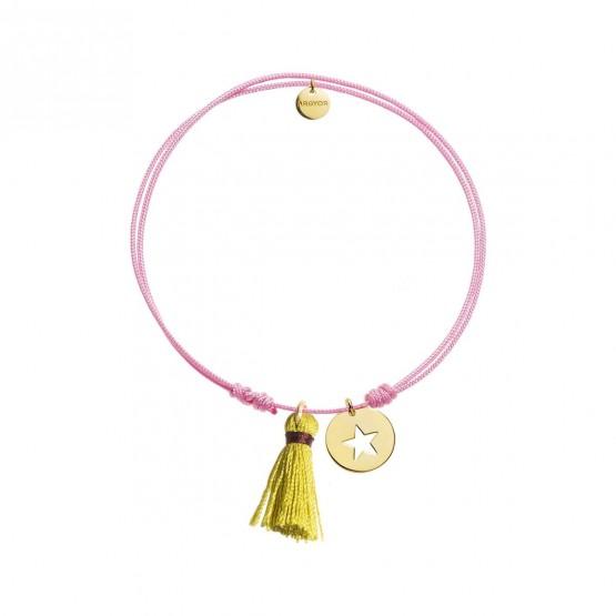 Pulsera Nylon rosa Estrella plata dorada y Pompón (4A8307500)