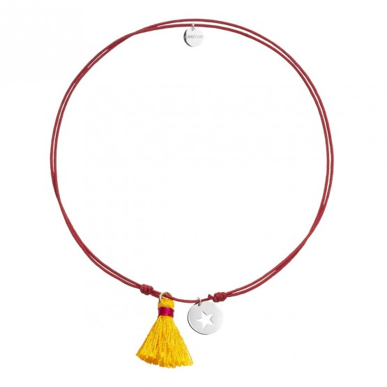 Gargantilla Nylon Rojo Estrella plata rodiada y Pompón (3B8307503)